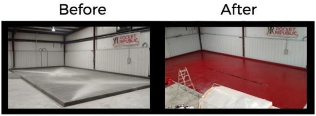 Do it yourself brewey floor coating - before and after