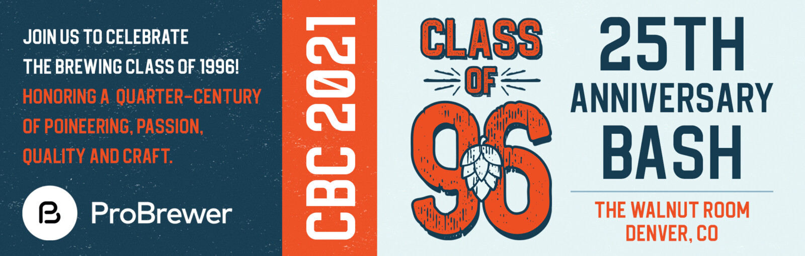 Join us to celebrate the brewing class of 1996! CBC 2021 Bash at The Walnut Room, Denver